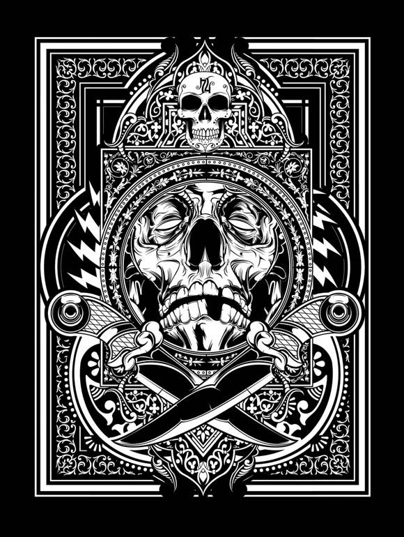 Graphic Design Art Black And White ~  Illustration Graphic Design Art Poster Black And White Skull picture
